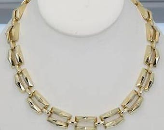 """Solid 14k Yellow Gold 3 Row Panther Link 17.5"""" Necklace 55.6g Bold Elegance"""