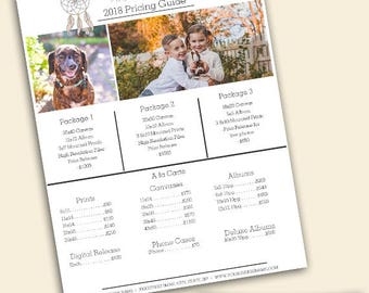 Price Sheet- Photography Template - Photoshop Template - Price Sheet Template - Instant Download - Pricing Guide - Photography
