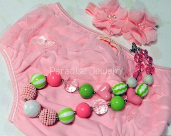 Pink Baby Ruffle Bloomer, Diaper Cover, Floret Headband, Bubblegum Necklace, Size 6 months, Photo Prop, Accessory Set, Baby Pictures