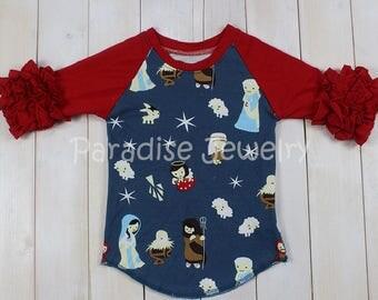 Christmas Nativity Print Cotton Raglan Top, Size 6, Ruffle Sleeve, Navy Print, Baby Jesus Ruffle Top, Jesus Shirt, Jesus Boutique Top