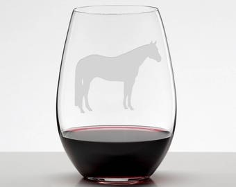 Quarter Horse Wine Glass, AQHA Glass, Etched Stemless Wineglass