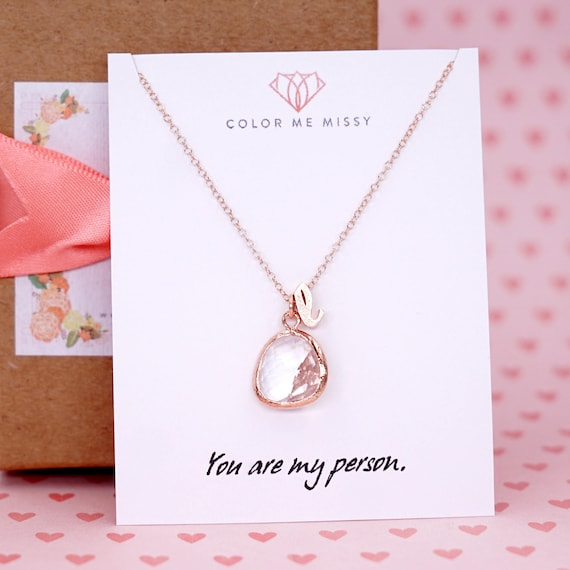 Rose Gold Round Glass drop Jewelry Set - Necklace, gifts for her, bridal gifts, pink rose gold weddings, bridesmaid jewelry N234