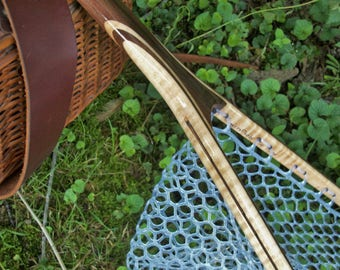 Walnut/Curly Maple 3-Ply handcrafted landing net with rubber netting and safety tether