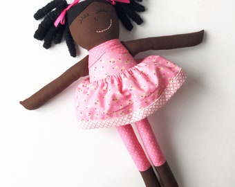 Handmade Black Doll - African American Doll - Brown Doll - Curly Hair Doll