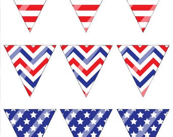 SALE - Printable Fourth of July Bunting, DIY Mini Pennant Flags Banner for 4th of July, Patriotic Stars and Stripes Banner Instant Download