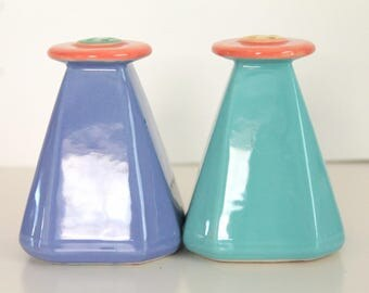 Vintage Lindt- Stymeist COLORWAYS Turquoise and  Blue Salt & Pepper Shakers
