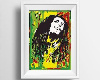 Bob Marley poster print, Bob Marley Music Art Print