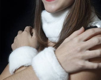 White faux fur cuffs