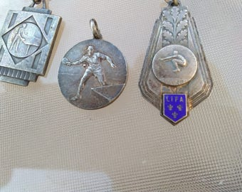 3pcs vintage French Paris art deco  silver plated solid bronze sport meda blue enamel ornate ping pong leaves gymnastics  athletic sport