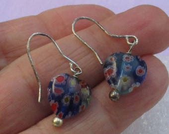 Retro Blue Miliflori Heart Colorful Dangling Pierced Earrings