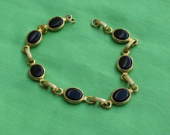 Vintage Black Glass Oval Shaped Cabochon Linked Bracelet Missing Clasp & Clasp Ring Repair Repurpose