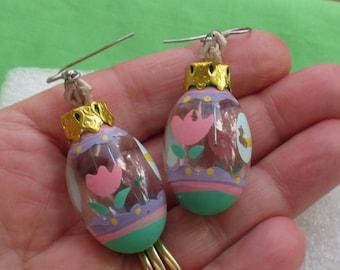 Vintage Easter Egg Dangling Pierced Earrings