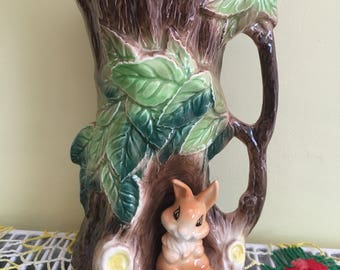 Vintage Hornsea Fauna Rabbit In Tree Jug Vase