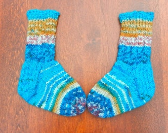 baby socks hand knitted wool and nylon multi coloured   perfect gift