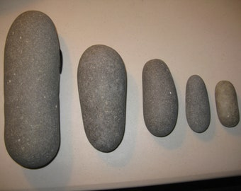 "5 Stones 3""- 9.75"" Roller Shaped Stones,Painting Stones, Wedding Stones,Large, Smooth, Round Beach Rocks, Wishing Stones, Wedding Decor"