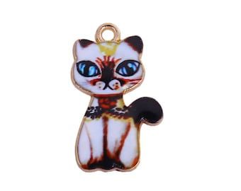 10 Charms CAT Animal Enamel Gold Plated 23 MM - 8 Cat Charms Pendants
