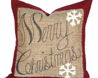 One 'Merry Christmas' Snowflake Pillow cover, 20x20, holiday pillow, decorative pillow, Christmas decoration