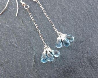 Sky blue topaz earrings, Sterling silver, gemstone earrings, wire wrapped earrings, dangle earrings, November birthstone, gift for her.