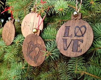 Philadelphia Hand-Made Wood Ornament Set / Custom Ornament / Philly