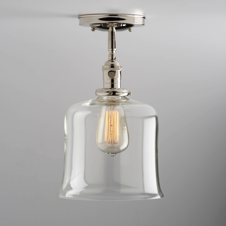 Clear glass Bell Shade Flush Mount or Semi-Flush Mount Ceiling Light ...