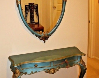 Beautiful Antique French Entry Table & Wall Mirror Set Two drawers Gold and Teal Nationwide shipping available call for best rates