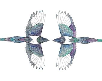 Bird Art Print. Magpie Bird. Watercolour art print. Magpie Print . Bird Wall Art. Bird Print. Geometric Art. Mothers Day Gift