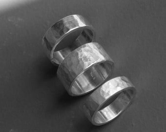 Hammered sterling silver wedding band or ring