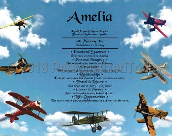 Airplanes Name Meaning Origin Print Name Personalized Certificate 8.5 x 11 Inches Customized With Any Name