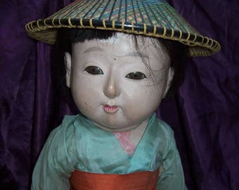 Large Japanese doll Ichimatsu Gofun Meiji  24 inches. Good shape needs care