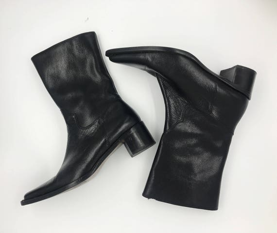 Etienne Aigner VTG Black Leather Boots Size US 6.5/7 - Women's Pointed Toe Etienne Aigner LYLE Black Designer Boots - Tall Low Heel Boots