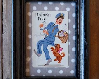 Framed Vintage Old Maid card - Postman Pete