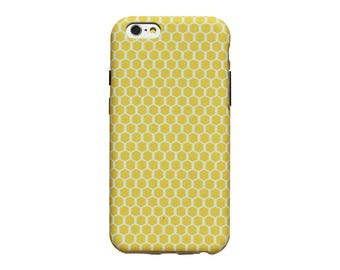 Yellow honeycomb pattern phone case for an iPhone 6 or iPhone 6 Plus