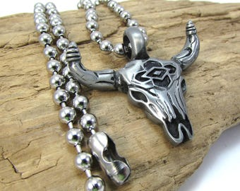 Bull Skull Necklace, 41x41mm Bull Skull Pendant, 4.5mm Stainless Steel Ball Chain Necklace, Necklace Supplies, Item 1619n