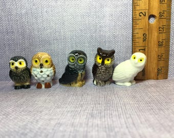 TINY OWLS Owl Wise Old Barn Forest Woods Birds Bird - French Feve Feves Figurines Doll House Miniatures UU80