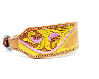 1 Of 1 Prototype Tan, Pink & Gold MadcoW Western Hand Tooled Canine Leather Cowhide K9 Dog Collar Hand Made Fully Adjustable 18""