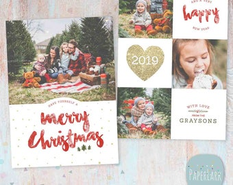 Christmas Card Template - Photoshop template - AC090 - INSTANT DOWNLOAD