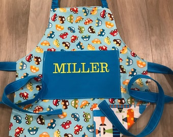 Kids Airplanes and cars aprons with pocket and elastic neck, personalized
