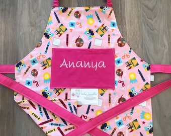 Kids reversible art apron, personalized