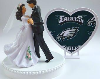 Wedding Cake Topper Philadelphia Eagles Themed Football Bride Groom Dancing Heart Turf Top Groom Sports Fans Pretty Reception Gift w/ Garter