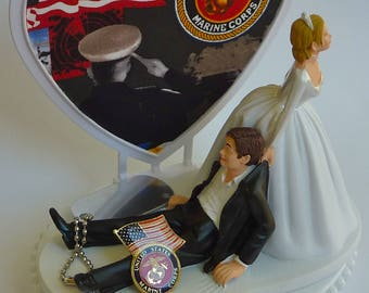 Wedding Cake Topper U.S. Marine Corps USMC Themed Enlisted Military Heart Dog Tag Humorous Funny Bride Drags Groom Marines w/ Bridal Garter