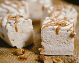 The Fluffernutter - Peanut Butter Ripple Marshmallows  - 1 dozen Gourmet homemade marshmallows