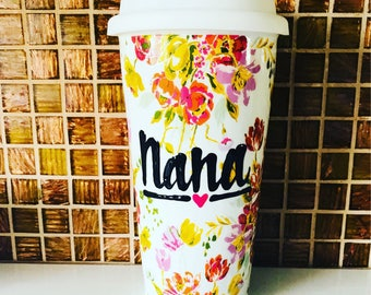 Dainty Floral Flowery Travel ceramic coffee Cup- Wedding gift- nana- Bride Mother's Day gift grandma -Handpainted travel mug  double walled