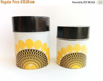 ON SALE Vintage Kitchen Canisters, Small Decorative Cans