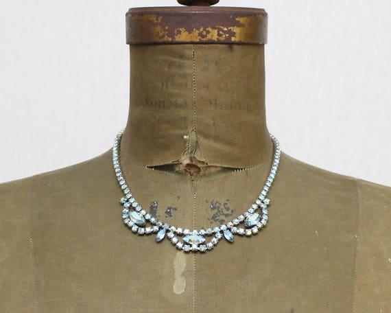 Sherman Blue Rhinestone Necklace - Aurora Borealis Bridal Jewelry - Vintage 1960s Something Blue Necklace