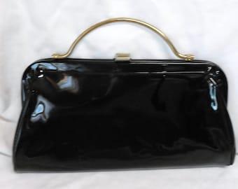 beautiful shiny Black Clutch handbag vintage 60's nice condition