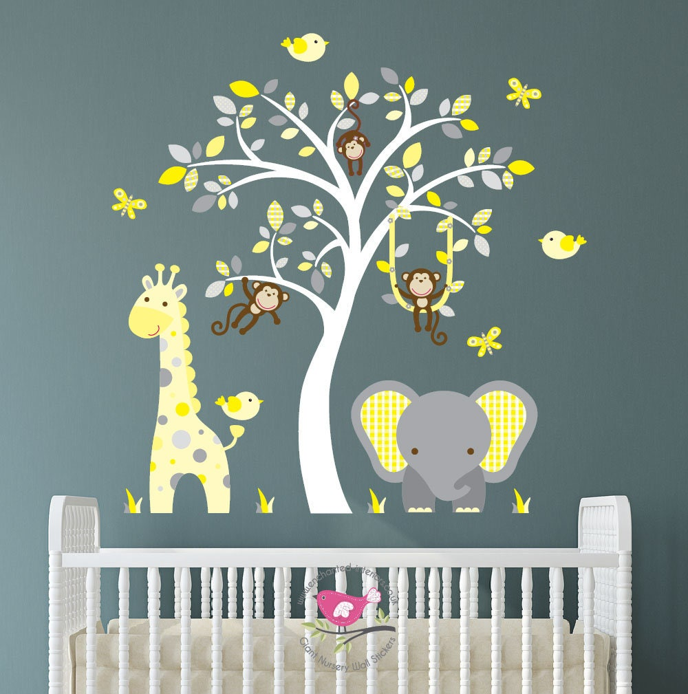 Jungle decal elephant nursery wall stickers yellow and grey zoom amipublicfo Image collections