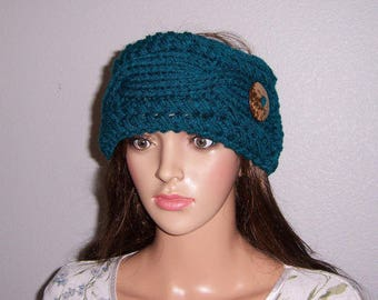 Chunky Cable Headband, Teal Blue, Earwarmer, Hand Knitted, Coconut Button, Gifts for Her, Messy Bun