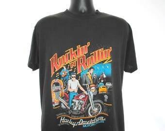 1987 Rockin' 'N' Rollin' Vintage Speed Limit 70 Brand Harley-Davidson Motorcycles + Elvis Presley 10 Year Death Anniversary Promo T-Shirt