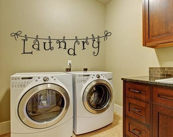 CLEARANCE SALE Laundry Wall Decal - Wall Decal - Laundry Room Decor -  Laundry Decal Wall Decals - Wall Vinyl - Vinyl Decal - Wall Decor - D