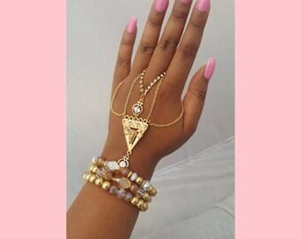 Gold ring bracelet hand chain finger chain slave bracelet hand jewelry ring diamond ring